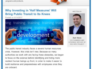 Zach Stone Featured in Metro Magazine: Why Investing in Half Measures Will Bring Public Transit to It's Knees.